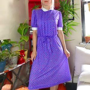 Vintage 80s kitsch purple collared shirt dress S/M